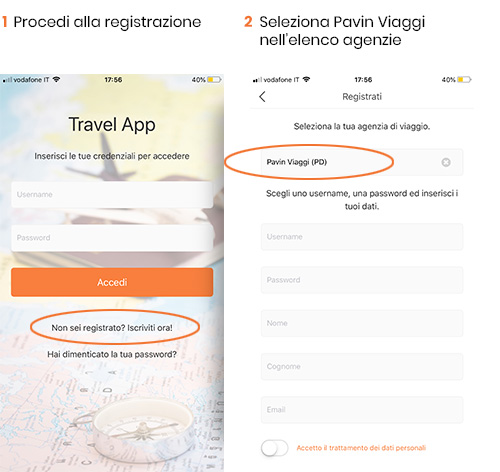 istruzioni App Pavin viaggi